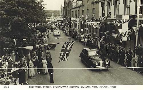 The Queen driving through Cromwell Street - 1956